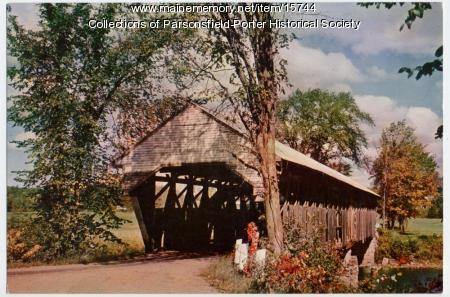 Porter covered bridge postcard, ca. 1945