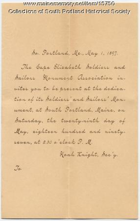 Monument dedication invitation, South Portland, 1897