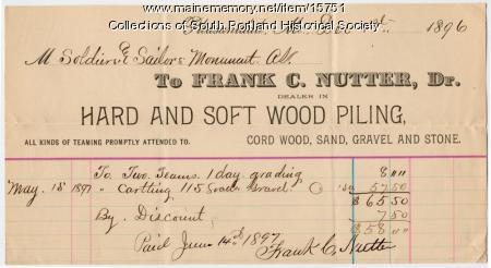 Frank C. Nutter invoice, South Portland, 1896