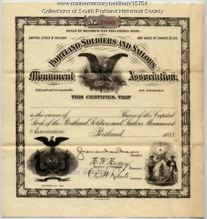 Portland Soldiers and Sailors Monument Association stock certificate