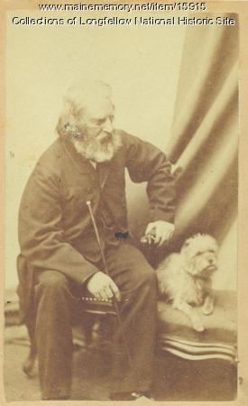 Henry Wadsworth Longfellow and his dog