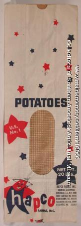 Hapco Farms potato bag, Fort Fairfield, ca. 1975
