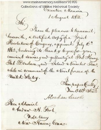 Abraham Lincoln commendation to Adm. Foote, 1862