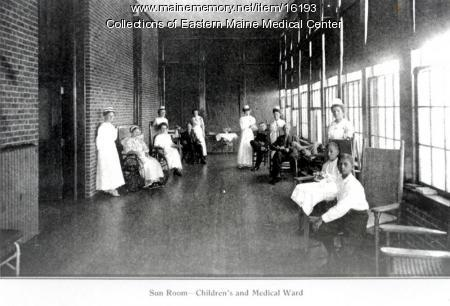 Sun room, Eastern Maine General Hospital, Bangor, 1910
