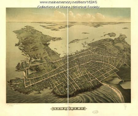 Birdseye View Map of Newport, R.I. 1878
