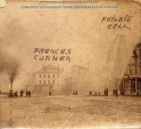 Fire drill on Market Square, Houlton, ca. 1880.