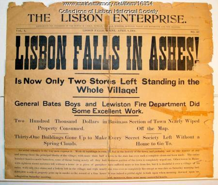 'Lisbon Enterprise' fire article, 1901