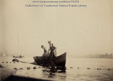 Men in fishing dory, Southwest Harbor, 1890