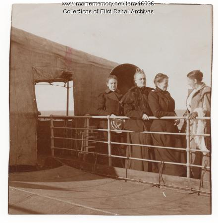 Sarah Jane Farmer and travel companions on the S.S. Furst Bismark, 1900
