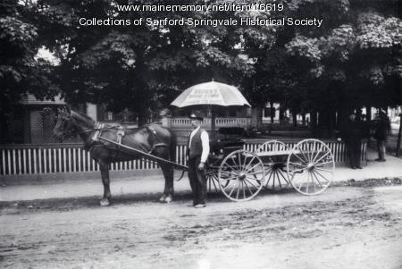 Delivery Wagon in Sanford Square, ca 1900