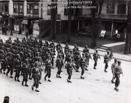 Soldiers marching in Presque Isle Memorial Day parade, 1944