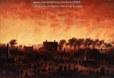Great Fire of Portland from Eastern Cemetery, 1866