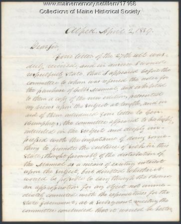William C. Allen letter to Parker Cleaveland, 1839