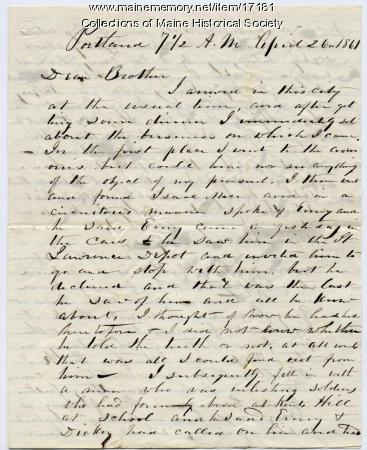 Peter Sanborn letter to brother, 1861