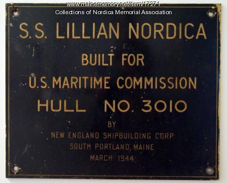 Nameplate from the S.S. Lillian Nordica