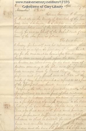 Alms House agreement, Houlton, 1867