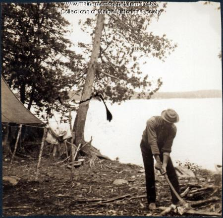 Chopping firewood, Lobster Lake, 1909