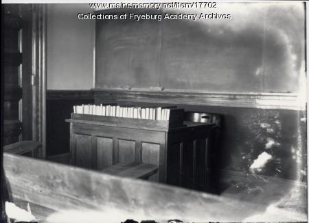 Teacher's desk, Fryeburg Academy, ca. 1906