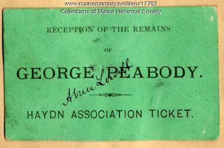 Haydn Association ticket, Portland, ca. 1869