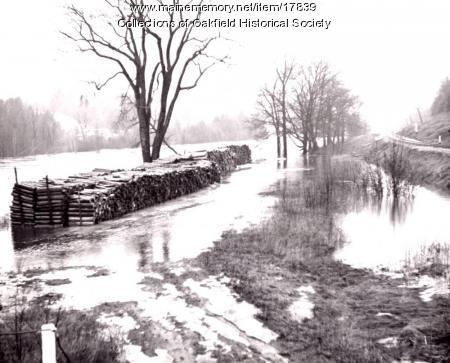 Spring flooding along the Bangor and Aroostook Railroad line, ca. 1955