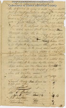 Portland Observatory subscriber agreement, 1807