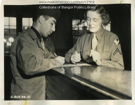 Women's Army Corps Clerk, Dow Field, Bangor, ca. 1944