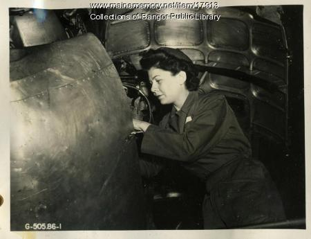 WAC mechanic, Dow Field, Bangor, ca. 1944