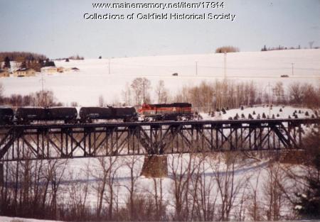 Bangor and Aroostook Railroad Train Crossing the Aroostook River Bridge, Presque Isle, c. 1990