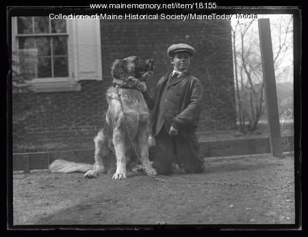 Boy with dog, Portland, 1927