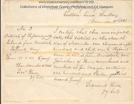 District of Passamaquoddy custom's receipt, Houlton, 1831