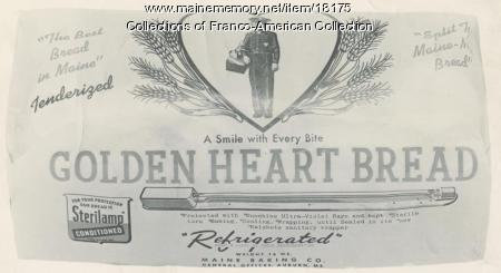 Golden Heart Bread label, Auburn, ca. 1940