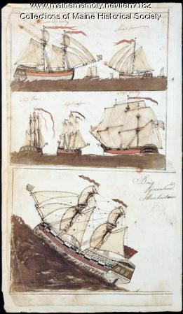 Drawings from Ammi Quint account book, Parsonsfield, 1803