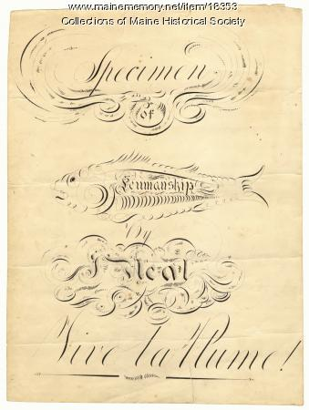 Penmanship sample, John Neal, ca. 1813