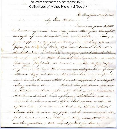 Sarah Sanborn letter to father, 1862