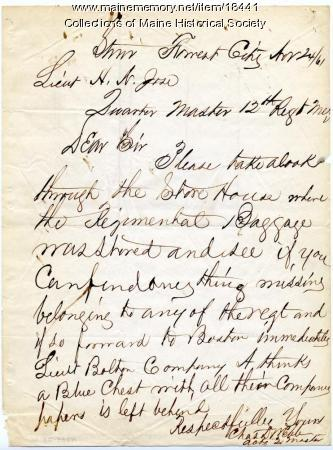 Letter concerning regimental supplies, 1861