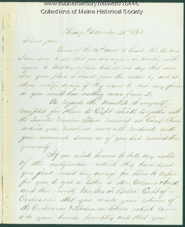 Charles Webb letter to Horatio Jose, Portland, 1863