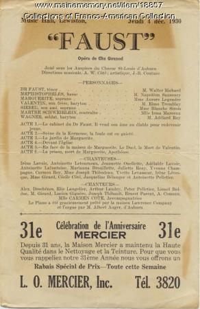 Program, 'Faust,' Lewiston, 1930