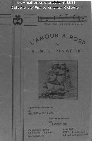 Program, 'L'Amour A Bord,' Lewiston, 1939