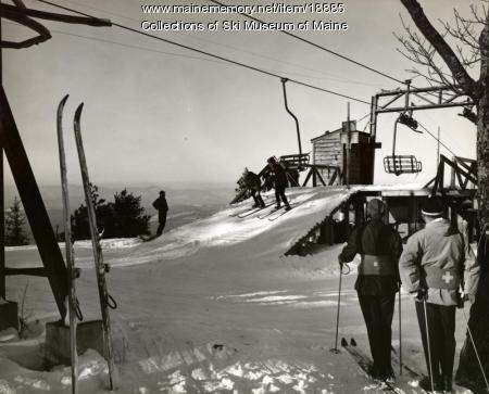 Old Blue chairlift, Pleasant Mountain, ca. 1960