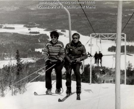 Riding the Old Blue chairlift at Pleasant Mountain, ca. 1972