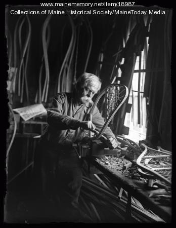 Mellie Dunham making snowshoes, ca. 1925