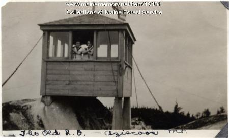 Old lookout, Azicoos Mountain, Lincoln Plantation, ca. 1929