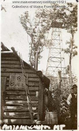 Forest Service lookout tower and camp, Mattamiscontis Mountain, ca. 1920