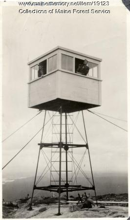 Lookout tower, Moxie Bald Mountain, ca. 1920