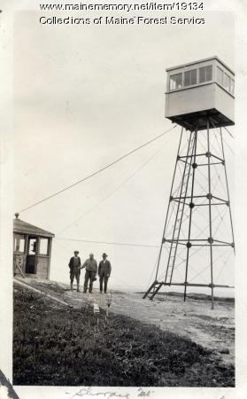 Fire lookout and camp, Schoodic Mountain, ca. 1920