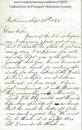 John G. Dillingham to wife, September 28, 1865