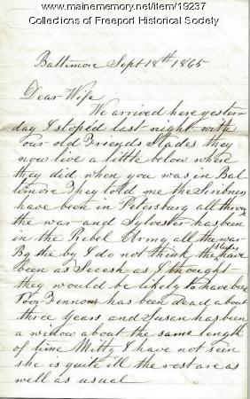 Capt. John G. Dillingham to his wife, 1865