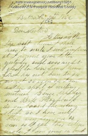 John M. Dillingham to his mother Margaret, August 31, 1862