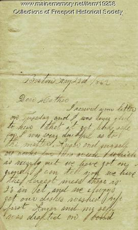 Letter written by John M. Dillingham to his mother Margaret, August 22, 1862