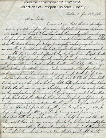 Susan H. Dillingham letter to sister, January 14, 1862